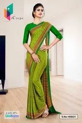 Yellow Green Paisley Print Premium Italian Silk Crepe Uniform Sarees For Factory Workers 1059