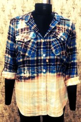 Women Bleached Flannel Button Down Shirt with Twin Pockets
