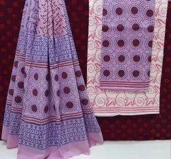 New Latest Natural Bagru Hand Block Printed Cotton Dress Material.