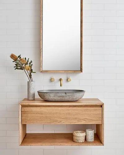 Identiqa Interiors Dark Brown Modular, Bathroom Vanity Cabinet