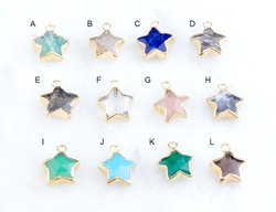 Gemstone Star Pendants - Star Carving Electroplated Pendant