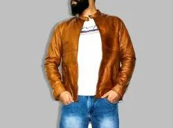 Full Sleeve Casual Jackets Tan Brown Pure Leather Jacket