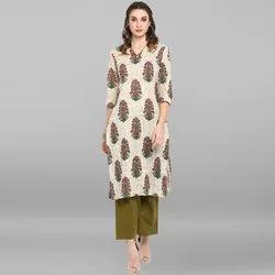 Janasya Women's Cream Pure Cotton Kurta(JNE3444)