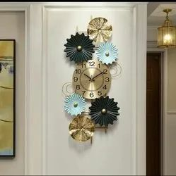 Craftkriti Multicolor Metal flower wall clock, For Home, Size: 45