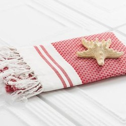 White,Red Jaquar Cotton Towel, For Bathroom