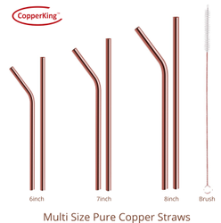 Pure Copper Reusable Straw And Cleaning Brush