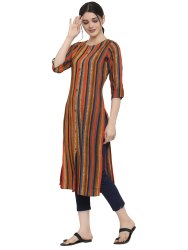 Women Striped Rayon Straight Kurta's(Orange)