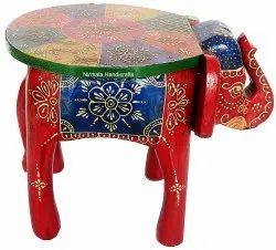 Wooden Elephant Table Statue Enamel Work Home/table Decorative Showpiece