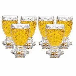 Pineapple Shaped Juice Glasses Drinking Glass Set Of 6 Pcs I 190 Ml, Size: 5 Inch