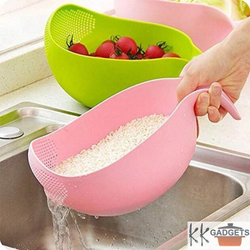 KK  Gadgets Plastic Rice Pulses Fruits Vegetable Washing Bowl & Strainer, For Home