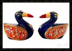 Metal Meenakari Duck Set Enamel Work Decorative Showpiece