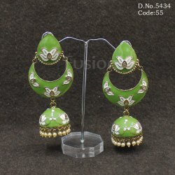Handmade Meenakari Chandbali Jhumka Earrings