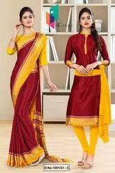 Marron Yellow Italian Silk Crepe Saree Salwar Combo For School Uniform Sarees