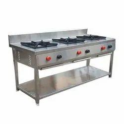 Dhanvi Enterprise 3 Stainless Steel Three Burner Gas Range, For Hotel,Restaurant