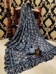 Party Wear Zardozi Work Malai Silk Saree, 6.3 m (With Blouse Piece)