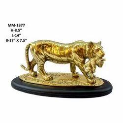 Brass Tiger Cub Golden Statue