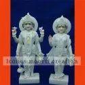 Pure White Marble Laxmi Narayan Statue