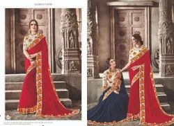 Red Color Chiffon Dyed Saree