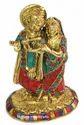 Brass Radha Krishna Statue Stone Work Hindu God Idol Figurine