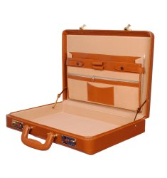 Plain Hard Craft PU Leather Briefcase Combination Golden Lock - Rust