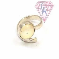 Opalite Gemstone Oval Shape Ring with Silver Plated