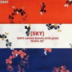 Sky 100% cotton kelvin drill print