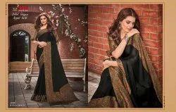 Casual Wear Plain VIPUL Juliet Chiffon Royal Gold Saree, With blouse piece, 6.3M