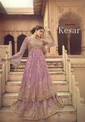 Kaara Suits Kesar Butterfly net With Embroidery Work Long Salwar Suit Catalog