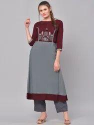 La Firangi Women Grey & Maroon Embroidered A-Line Kurta