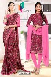 Wine Pink Paisley Print Premium Italian Silk Crepe Uniform Sarees For School Teachers