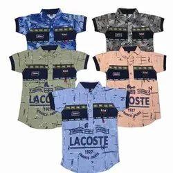 Casual Wear Polo Kids Fancy Collar Hosiery T Shirt