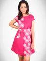 Pink Printed Kurti With Pocket And Dori