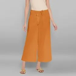 Janasya Women's Orange Pure Cotton Palazzo Pant(BTM042)