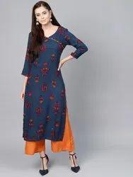 La Firangi Women Navy Blue & Orange Printed Angrakha Straight Kurta