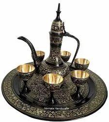 Nirmala Handicrafts Brass Black Wine Set Decorative Showpiece And Gift Item