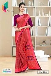 Carrot Pink Plain Border Premium Polycotton Raw Silk Saree For Employee Uniform Sarees (2)