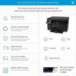 Black & White HP Laserjet Pro M1136 Multifunction Monochrome Laser Printer (Black)