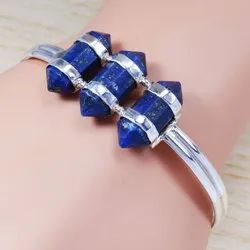 Pencil Shape Bangle Lapis Lazuli Gemstone 925 Sterling Silver Jewelry