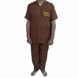 Mix Of Polyester Pant And Shirt Brown Plain Hospital Ward Boy Uniform