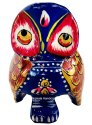 Metal Meenakari Owl Statue Enamel Work Sculpture