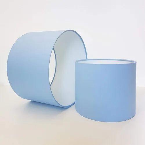 Sky Blue Plain Fabric Drum Lamp Shade, Fabric Drum Lamp Shades