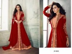 Heavy Georgette With Coding Embroidery Work Gown