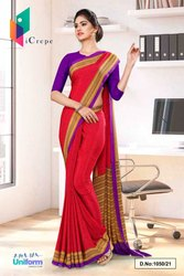 Dark Pink Lavender Paisley Print Premium Italian Silk Crepe Uniform Sarees For Front Office Staff
