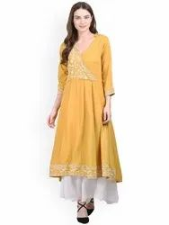 La Firangi Women Mustard Embroidered Anarkali Kurta