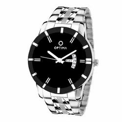 New Silver Optima OMD-618 Day and Date Unique Analog Watch for Men, Black Dial