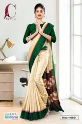 Green And Beige Cotfeel Uniform Saree
