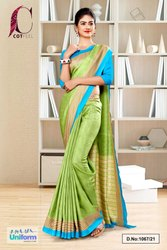 Pistachio Sky Blue Plain Border Premium Polycotton CotFeel Saree For Showroom Uniform Sarees