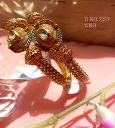 Brass Golden Ladies Pearl Beaded Kundan Bangle D NO 7257