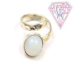 Opalite Gemstone Ring with Silver Plated
