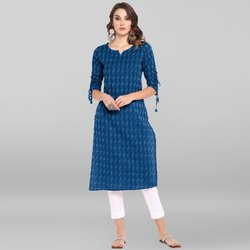 Janasya Women's Blue Pure Cotton Kurta(JNE 3567)